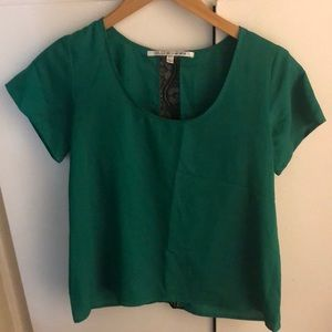 Green top with black lace detail